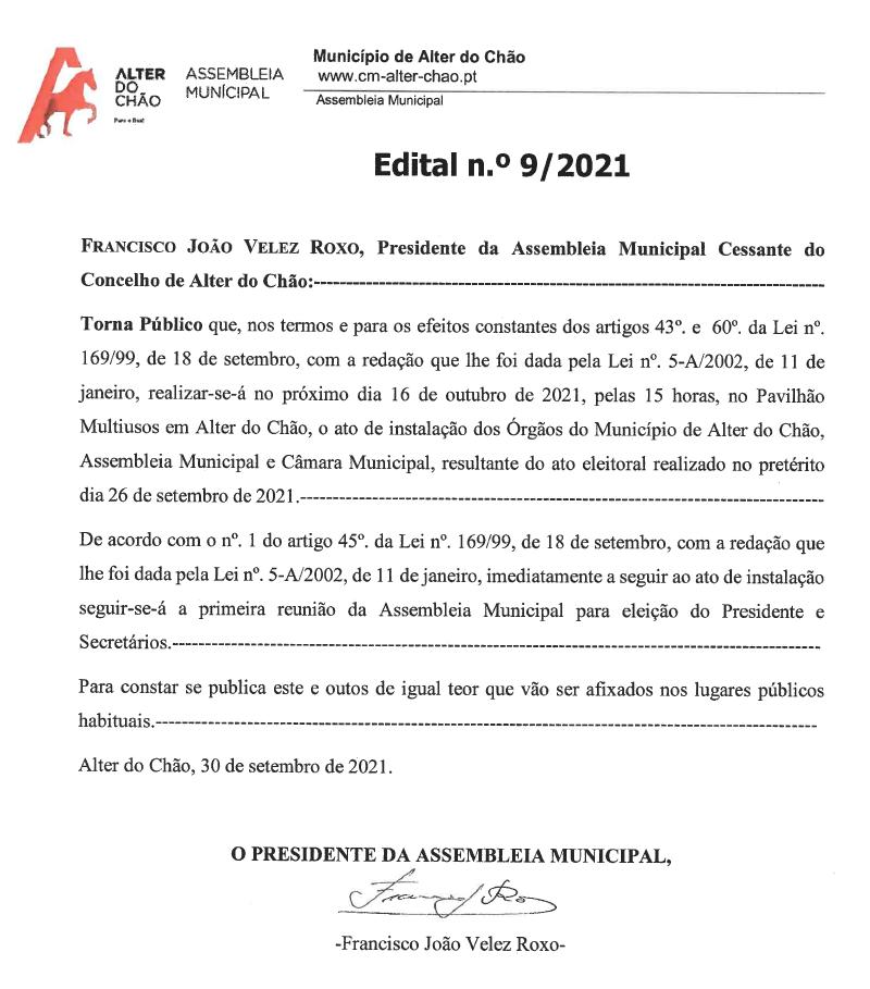 Edital nº9 Assembleia Municipal